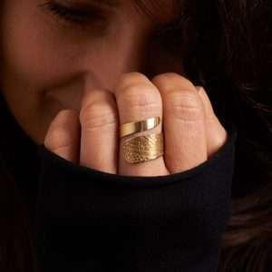 Handmade Gold Brass Adjustable Ring