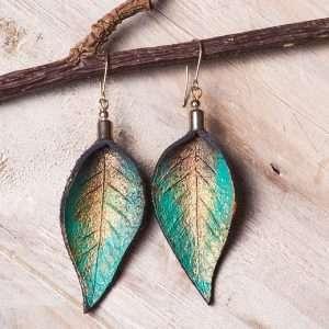Leather Handmade Painted Earrings VII