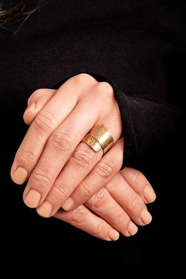 Handmade Adjustable Brass Ring Pose 4