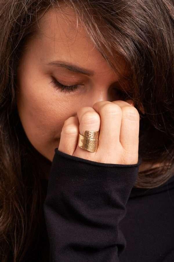 Handmade Adjustable Brass Ring Pose 3