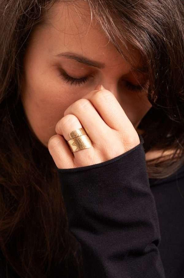 Handmade Adjustable Brass Ring Pose 2