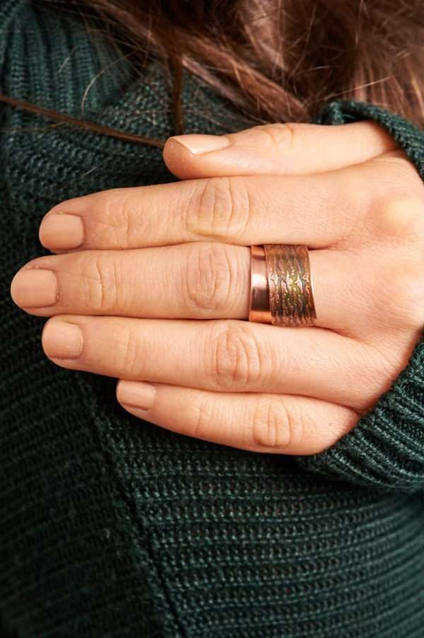 Handmade Flame Copper Ring Green Pose 5