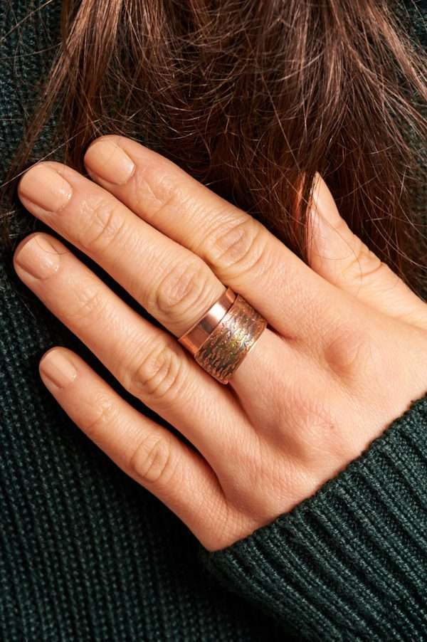 Handmade Flame Copper Ring Green Pose 3