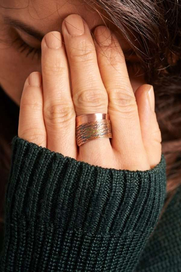 Handmade Flame Copper Ring Green Pose 2