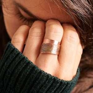 Handmade Flame Copper Ring Green