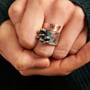 Handmade Copper Ocean Waves Ring