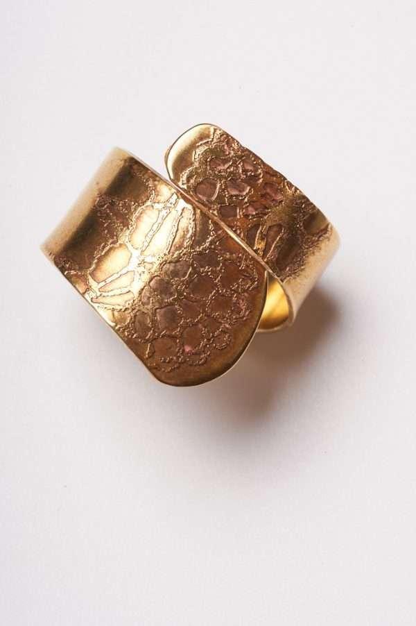 Handmade Adjustable Brass Ring top view