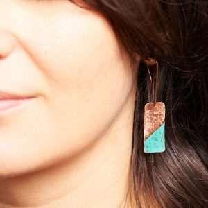 Rectangle Copper Earrings III