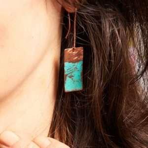 Rectangle Copper Earrings II