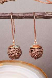 Lava and Patina Copper Earrings Pic 2