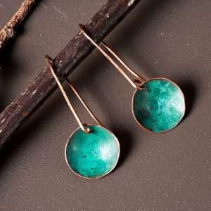 Disc Copper Green  Earrings