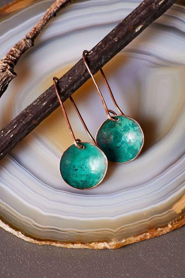 Disc Copper Green Earrings Pic 2