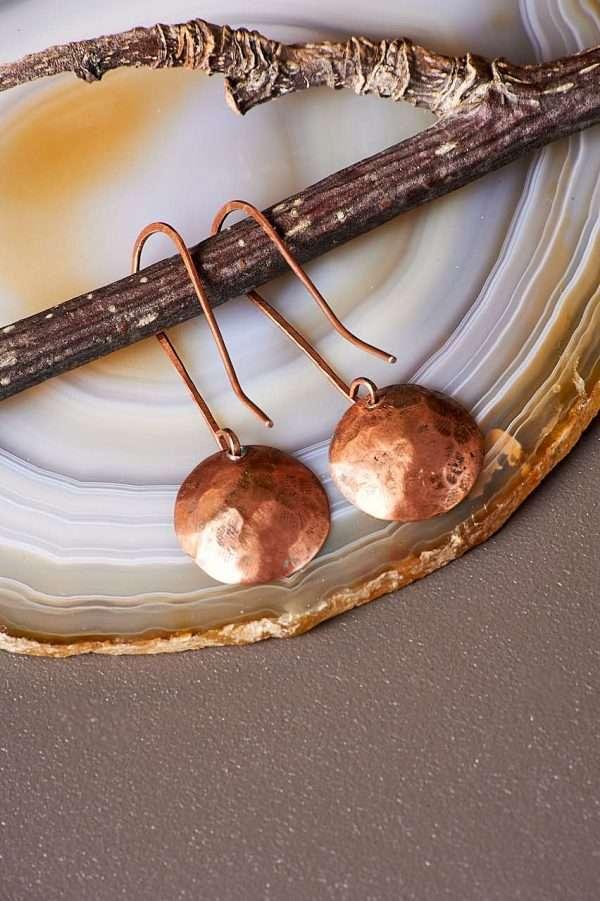 Disc Copper Earrings