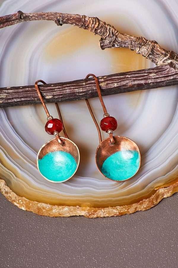 Disc Copper Carnelian Earrings Pic 4