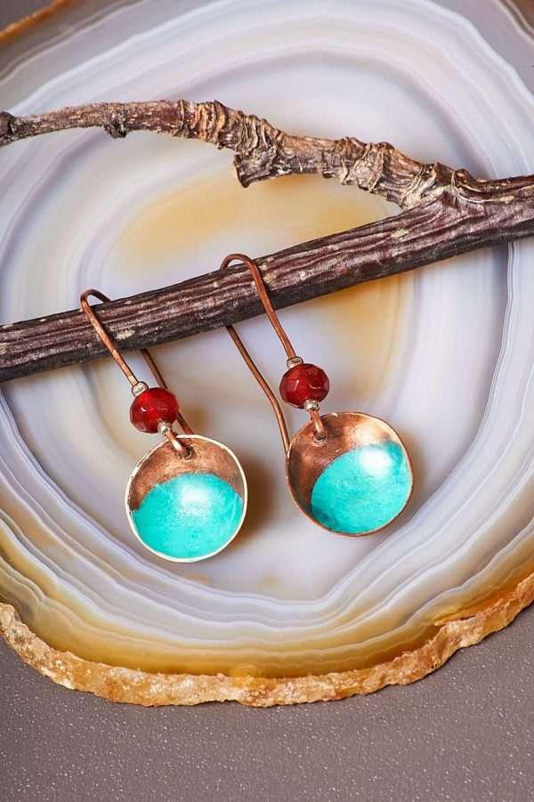 Disc Copper Carnelian Earrings Pic 3