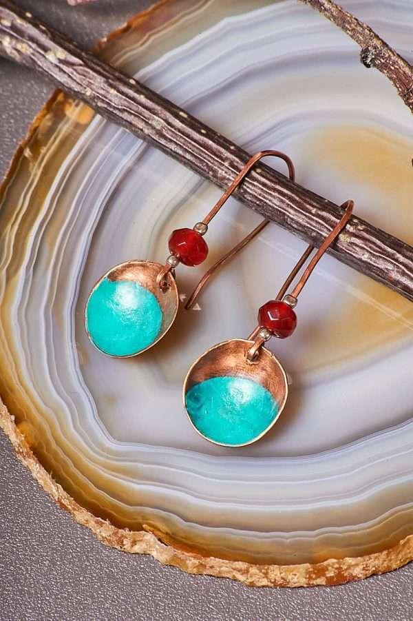 Disc Copper Carnelian Earrings
