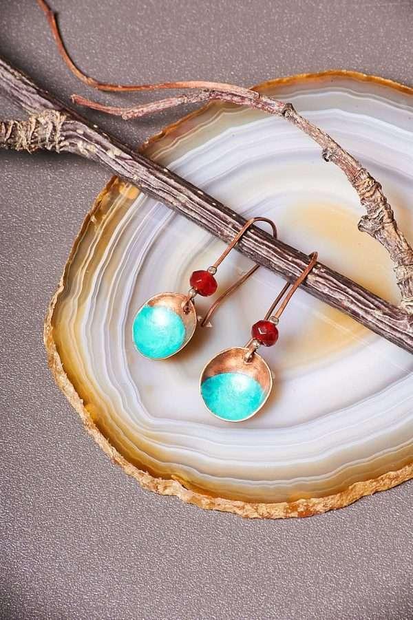 Disc Copper Carnelian Earrings Pic 2