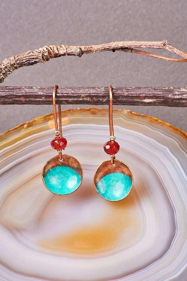 Disc Copper Carnelian Earrings Front view