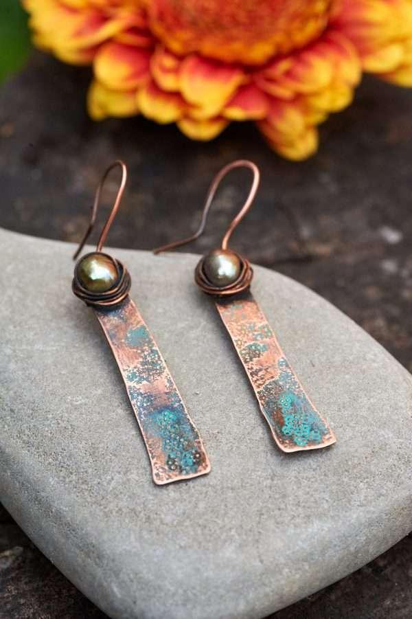 Rustic Copper Earrings Pic 2