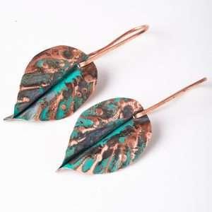Patina Leaf Copper Earrings