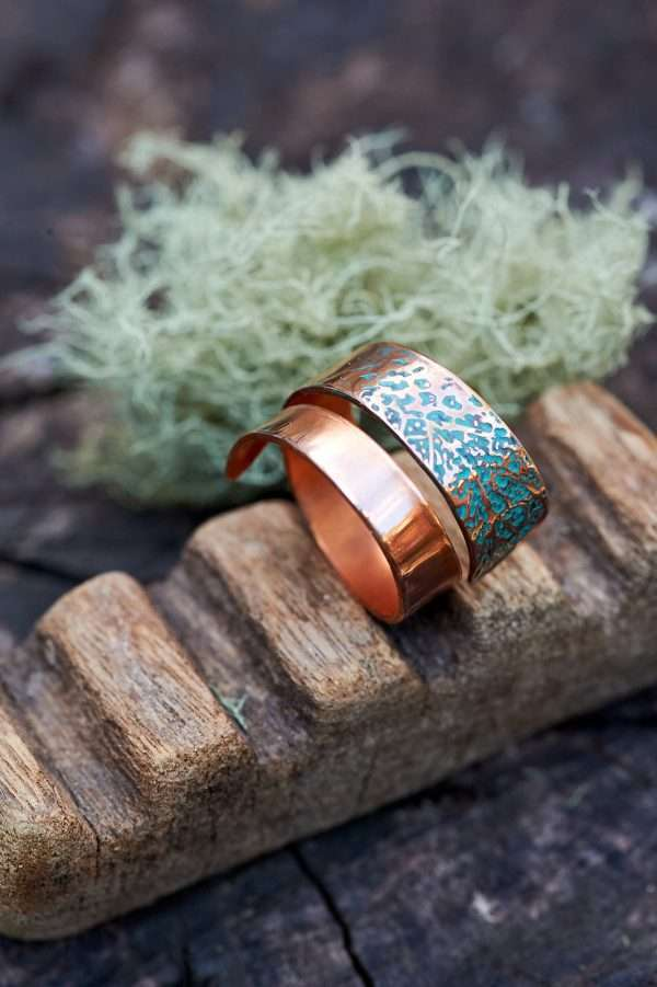 Copper Leaf Motif Ring