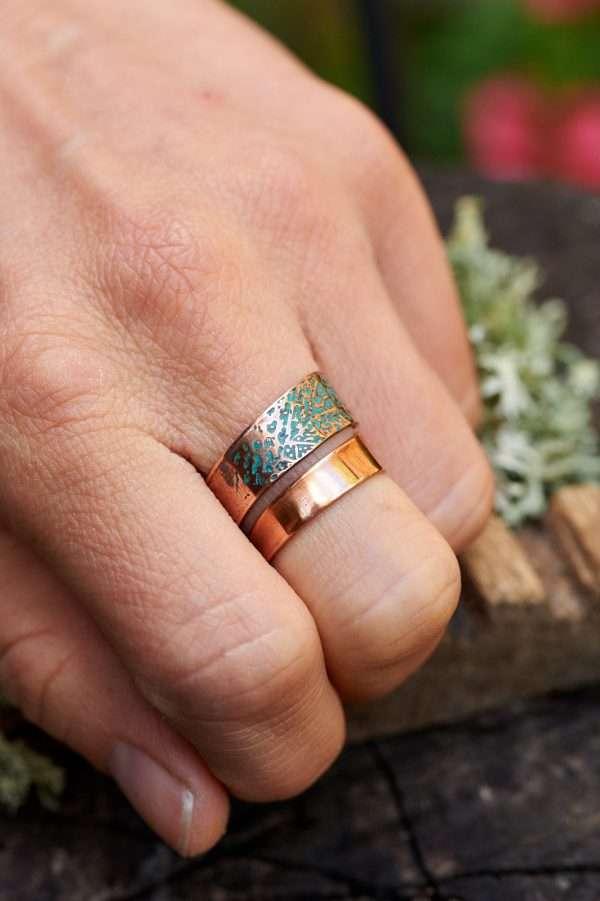 Woman wearing Copper Leaf Motif Ring on her finger