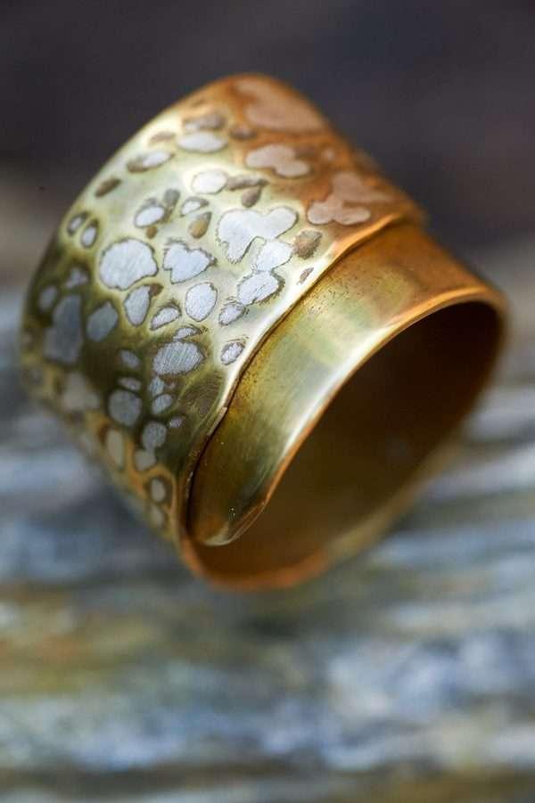 Handmade Adjustable Brass Silver Ring pic 5