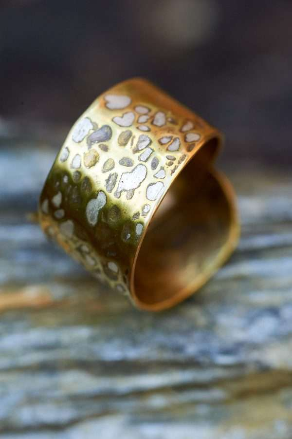 Handmade Adjustable Brass Silver Ring pic 4