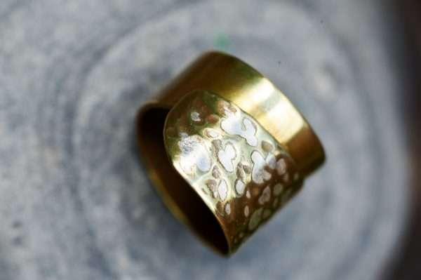 Handmade Adjustable Brass Silver Ring Pic 3
