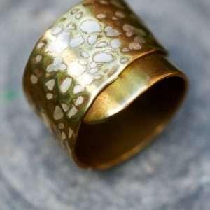 Handmade Adjustable Brass Silver Ring