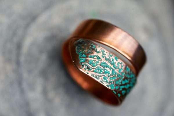 Copper Leaf Motif Ring top view 2