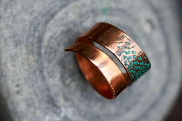 Copper Leaf Motif Ring top view 3